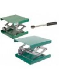Подъемный столик лабораторный, алюминий, зеленый цвет, ДхШхВ 300х300х90/470 (11080)